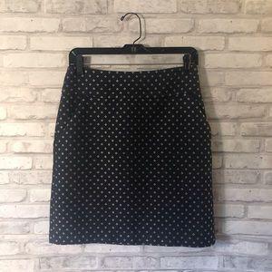 Ann Taylor Navy Blue Patterned Pencil Skirt Sz 2